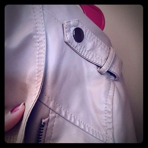 Cream colored classy leather jacket